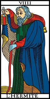 carte 9 tarot de marseille l'Hermite